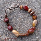 Moukaite collection:  Moukaite nuggets with copper and Czech glass beads bracelet