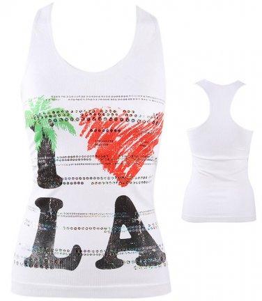 Love LA Bling Heart Los Angeles Racer Back Sleeveless Tank Top Shirt