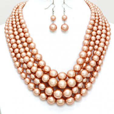 Gold Chunky Layered Pearl Statement Jewelry Necklace