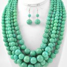 Mint Turquoise Chunky Layered Pearl Statement Jewelry Necklace