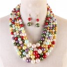 Multi Color Strand Necklace Earring Set Graduating Pearl Bead Chunky Layered