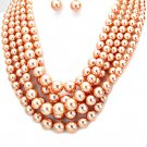 Peach Multi Strand Necklace Earring Set Graduating Pearl Bead Chunky Layered