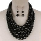 Black Multi Strand Necklace Earring Set Graduating Pearl Bead Chunky Layered