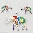 Elephant Pendant Necklace Earring Set Enamel Silver Animal