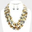 Multi Natural Strand Necklace Earring Set Graduating Pearl Bead Chunky Layered