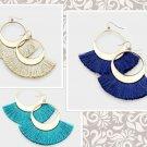Tassel Fringe Hoop Gold Earrings Fish Hook Design Multi Color