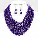 Purple Multi Strand Necklace Earring Set Graduating Pearl Bead Chunky Layered