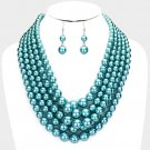 Teal Multi Strand Necklace Earring Set Graduating Pearl Bead Chunky Layered