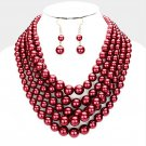 Burgundy Multi Strand Necklace Earring Set Graduating Pearl Bead Chunky Layered