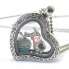 Dog Mom Puppy Pet Origami Style Floating Charm Heart Locket Necklace