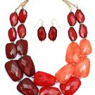 Beaded Red Ombre Gradiated Faceted Pebble Bead Statement Necklace