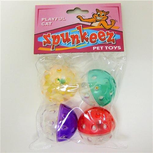 Spunkeez Cat Plastic Balls 4pk