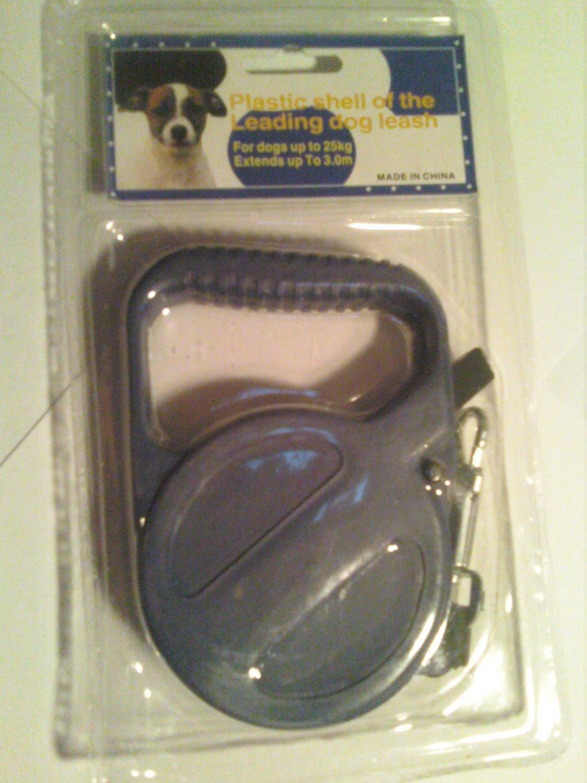 9' Retractable Dog Leash (Small dog, Black)