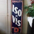 """Vintage Sign Iso=Vis """"D"""" Motor Oil Porcelain ca.1930 60x15 3/4"""" Pat No. 1951325"""