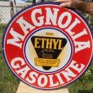 """Vintage Sign Magnolia Gasoline Porcelain Double Sided Orig. 30""""Da."""