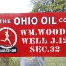 Vintage Sign The Ohio Oil Co. Metal Sign Marathon Runner Logo Non Porcelain