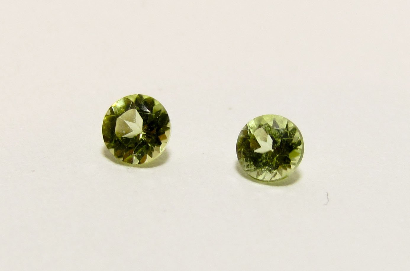 Peridot 3mm Round Matching Pair Loose Faceted Gemstones