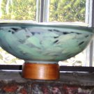 LIGHT GREEN HANDPAINTED METAL BOWL ON WOODEN STAND