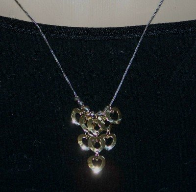 Stunning 2 Tone 14k Italian Gold Heart Necklace w. SLIDE