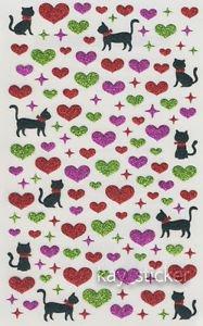 Glitter Cat Heart Sticker 100+