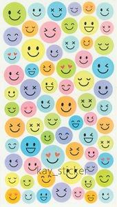 Plain Pastel Smile Face Expression Sticker Sticker 60+