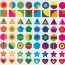 Patterned Shpes sticker Circle Heart Star Pentagon Hexagon Triangle 80
