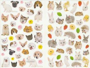 2 sheet of Animal photo stickers Dog Cat Rabbit  Hamster  80+