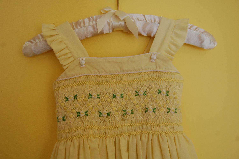 Yellow Cotton Hand smocked Dress
