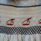 Beige Cotton Hand smocked Sailboats Dress