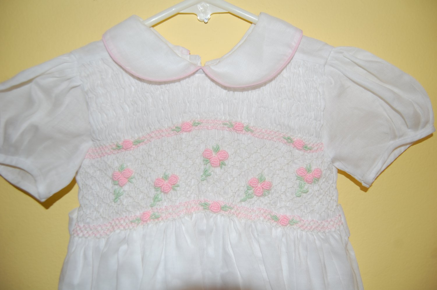 White Linen Hand Smocked with Pink Flowers Dress