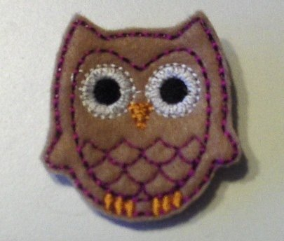 Tan owl felt clippie set