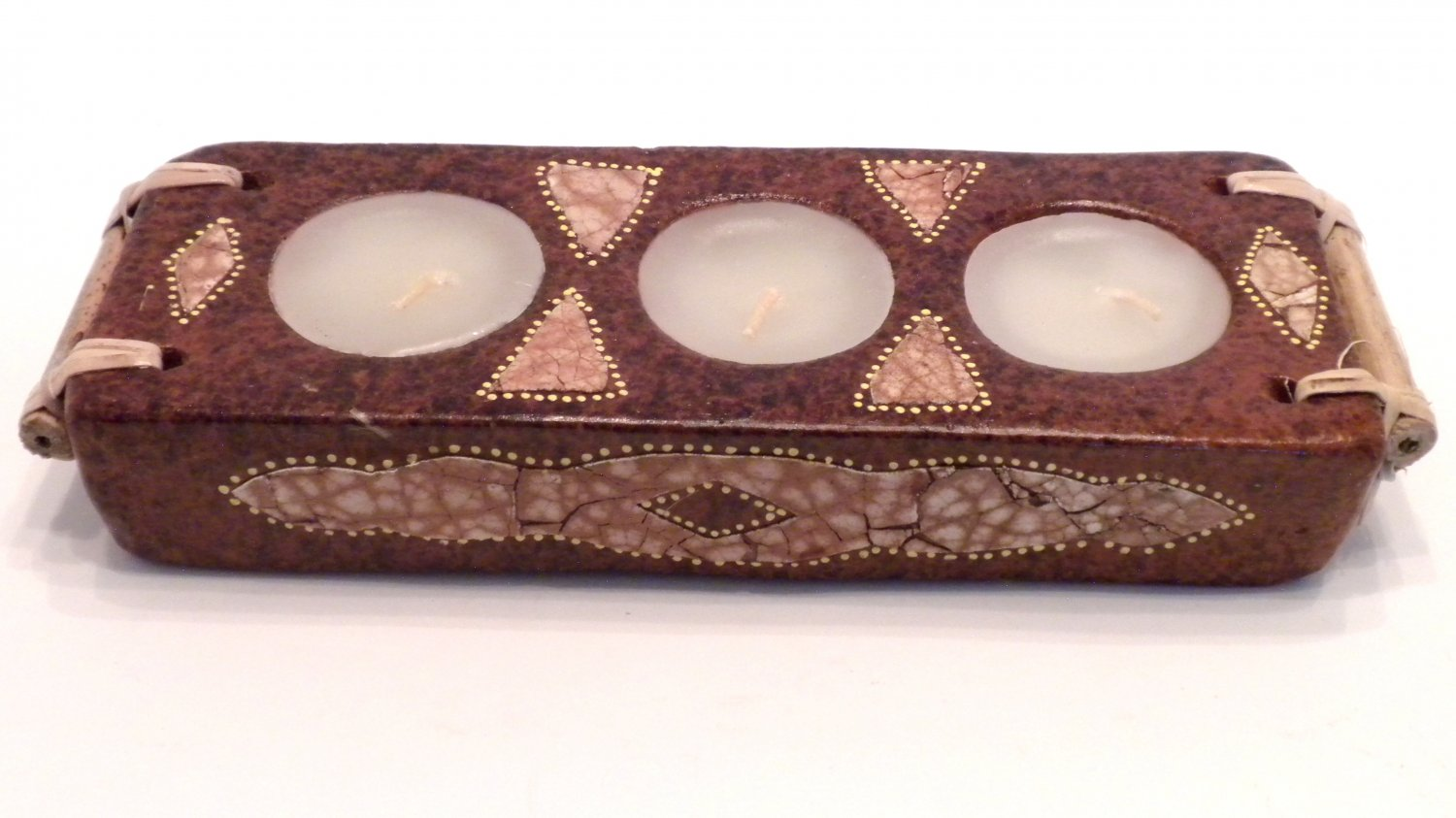 TERRACOTTA CANDLE RECTANGULAR THREE CANDLES BROWN