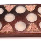 TERRACOTTA CANDLE RECTANGULAR WITH EIGHT HOLES BROWN