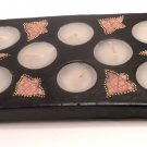 TERRACOTTA CANDLE RECTANGULAR WITH EIGHT HOLES BLACK