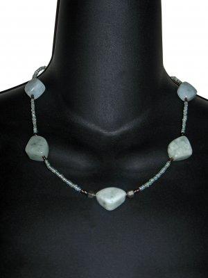Sea Green Quartz Necklace Earrings Set