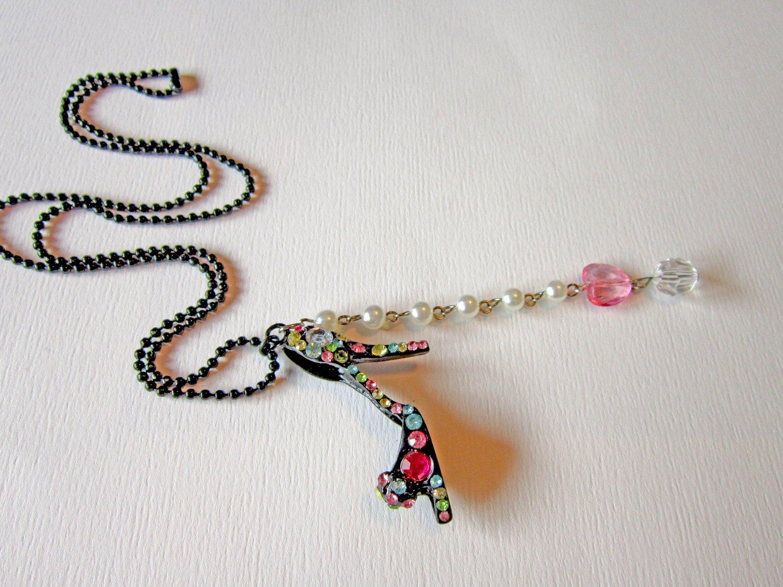 Diva High Heel Shoe Crystal Pendant Necklace