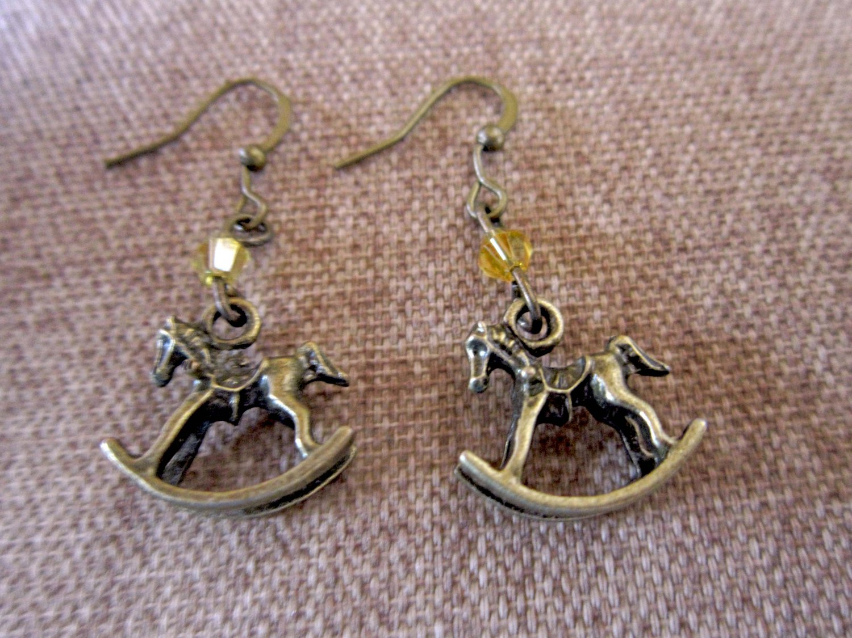 Iridescent Champagne Vintage-inspired Rocking Horse Swarovski Crystal Earrings