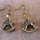 Iridescent Champagne Vintage-inspired Rocking Horse Swarovski Crystal Earrings