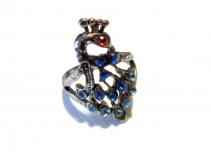 Peacock Rhinestone Fashion Ring Size 7