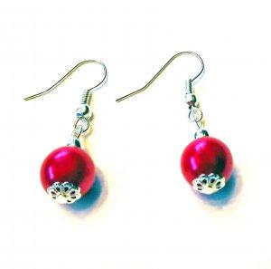 Metallic Pink Faux Pearl Earrings