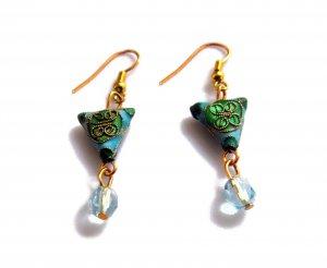Stylized Chinese Shou Earrings in Sky Blue