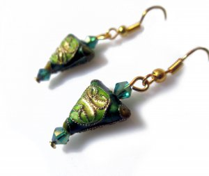 Chinese Shou Earrings in Green Tea