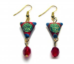Chinese Shou Earrings in Lucky Red