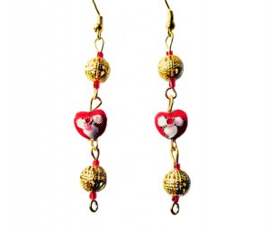 Cloisonné Heart Drop Earrings