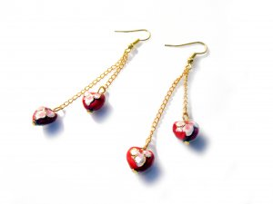 Cloisonné Double Heart Earrings