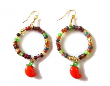 Glass Harvest Earrings - Carrot