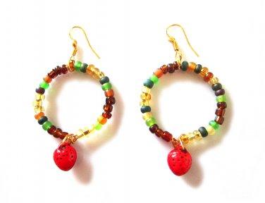 Glass Harvest Earrings - Strawberry