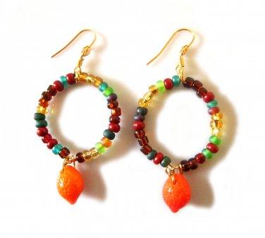 Glass Harvest Earrings - Orange