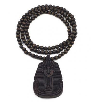 DARK BROWN Men's Wooden Bead King Tut Pharaoh Pendant Necklace