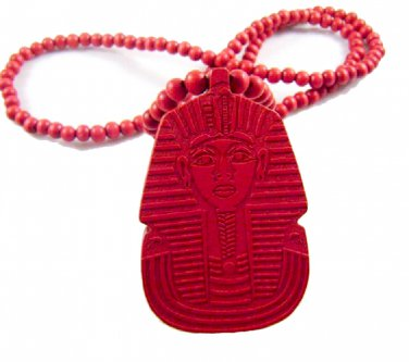 RED Men's Wooden Bead King Tut Pharaoh Pendant Necklace